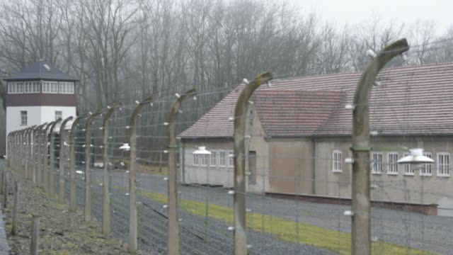 fencing surrounds buchenwald concentration camp on january 26 2018 near weimar germany tomorrow january 27 is international holocaust remembrance day... - campo di concentramento di buchenwald video stock e b–roll
