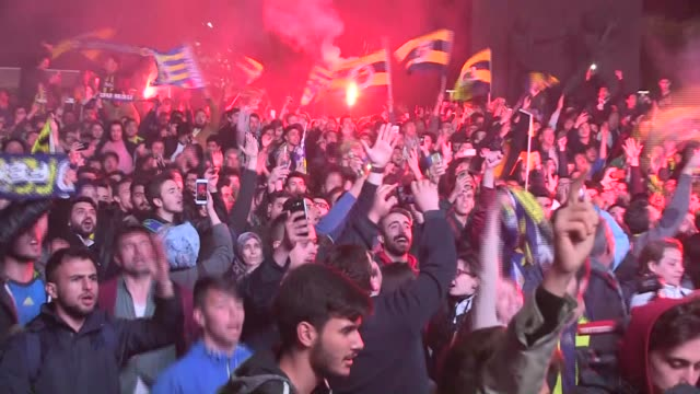 Fenerbace fans celebrate after their team won the Turkish Airlines Euroleague Final Four Championship match against Olympiacos on May 21 2017 in...
