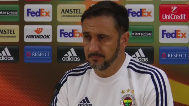 Fenerbahce head coach Vitor Pereira attends a media conference in Moscow Russia on February 24 ahead of the UEFA Europa League Round of 32 second leg...