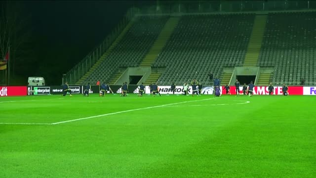 Fenerbahce players take part in a training session led by head coach Vitor Pereira at the Braga Municipal Stadium on March 16 2016 in Braga Portugal...