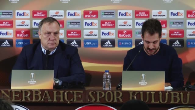 Fenerbahce's head coach Dick Advocaat and defender Martin Skrtel attend a press conference the day before the UEFA Europa League Round of 32 second...