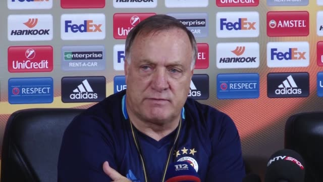 Fenerbahce's head coach Dick Advocaat attends a press conference a day before the UEFA Europa League Group A soccer match against Zorya at...