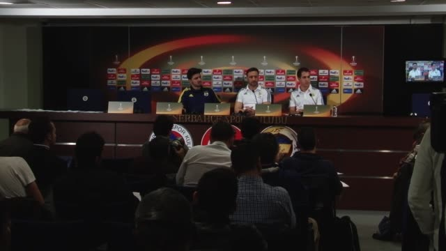 Fenerbahce's head coach Vitor Pereira speaks during a press conference at Ulker Sport Arena in Istanbul Turkey on February 15 2016 Fenerbahce will...