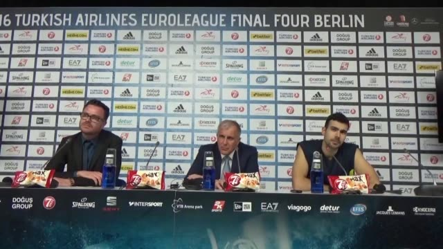 fenerbahce's head coach zeljko obradovic and guard kostas sloukas hold a press conference following the turkish airlines euroleague final four semi... - semifinal round stock videos & royalty-free footage