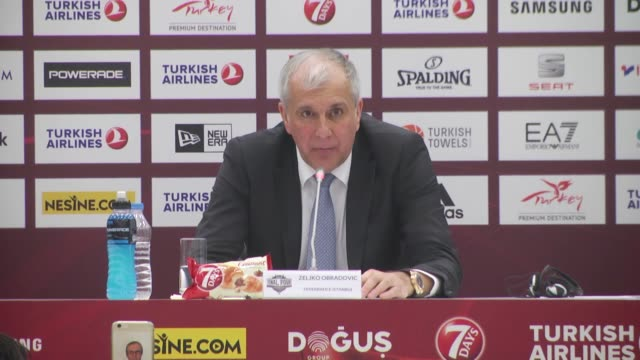 Fenerbahce's Head coach Zeljko Obradovic speaks during a press conference following the final basketball match between Fenerbahce and Olympiacos at...