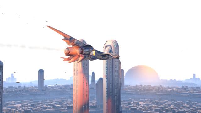 vídeos y material grabado en eventos de stock de fenix avión cruzando una ciudad futurista - nave espacial