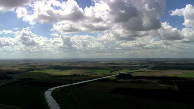 fenland landscape  - aerial view - england, lincolnshire, south holland district, united kingdom - lincolnshire stock videos & royalty-free footage