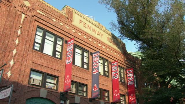 MS LA Fenway Park main sign and pennant year winning banners / Boston, Massachusetts, USA