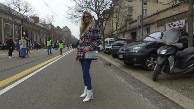 Fer Medina is wearing a Milly blazer Lewis jeans Topshop boots Dior bag and Fendi glasses during Milan Fashion Week Fall Winter 2017/18 on February...