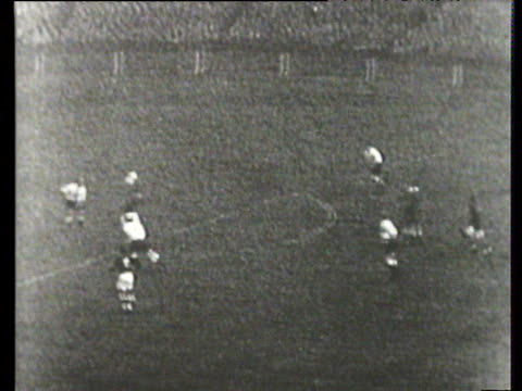 Ferenc Puskas plays fantastic lofted ball into path of Nandor Hidegkuti who volleys in to complete his hattrick and make it 26 England vs Hungary...