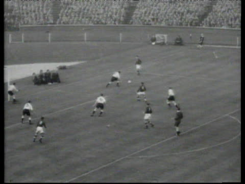 ferenc puskas with brilliant drag back to send billy wright sliding wrong way before he smashes ball home for 1-3 lead, england vs hungary,... - football player stock videos & royalty-free footage