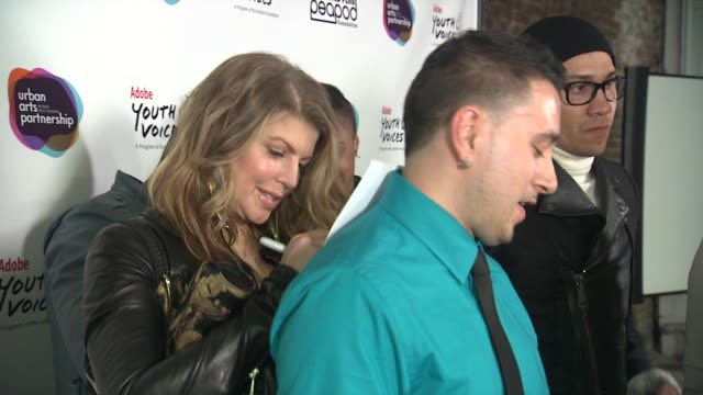 fergie at the black eyed peas at the peapod adobe youth voices academy launch at urban arts partnership in new york city april 19th at new york ny - adobe material stock videos and b-roll footage