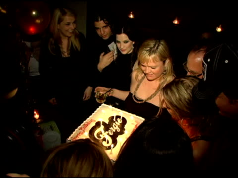 fergie blows out the candles of her birthday cake with boyfriend josh duhamel at the birthday celebration for fergie at citizen smith in hollywood... - fergie duhamel stock videos and b-roll footage