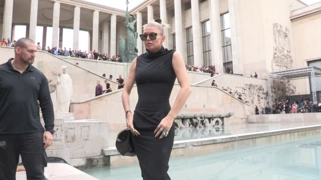 fergie courtney love jean baptiste mondino michelle lamy and more front row for the rick owens ready to wear spring summer 2018 fashion show in paris... - courtney love stock videos & royalty-free footage