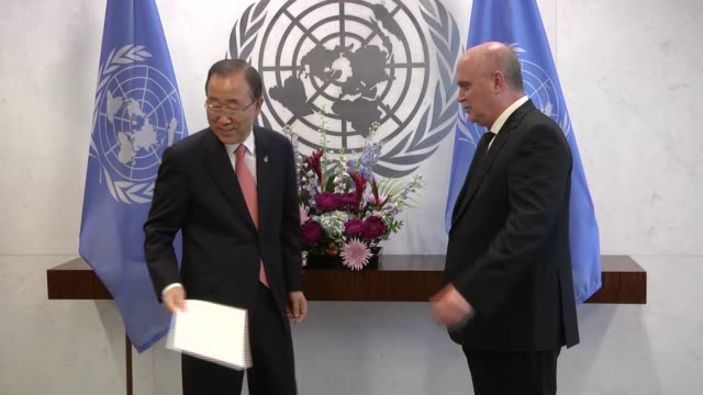 feridun sinirlioglu turkey's permanent representative to the united nations in new york meets with un secretarygeneral ban kimoon in new york united... - united nations stock videos & royalty-free footage