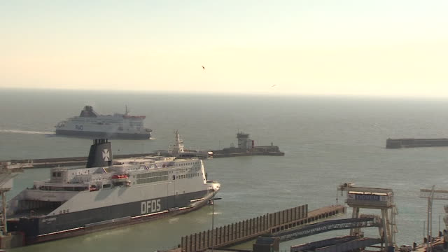 ferries at dover docks - cargo ship stock videos & royalty-free footage