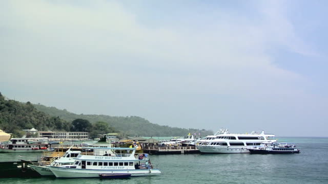 ws ferries at ferry terminal at ao loh da lam, phi phi island, thailand - ferry terminal stock videos & royalty-free footage