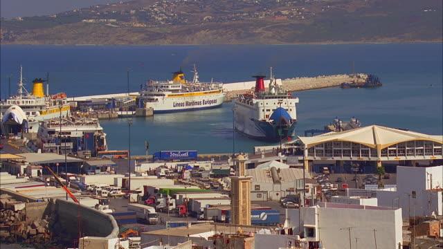 vídeos y material grabado en eventos de stock de ms ha ferries in harbor, tangier, morocco - ferry