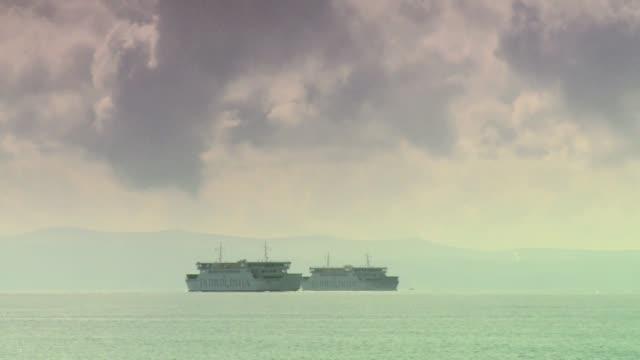 vídeos de stock e filmes b-roll de ferries on adriatic sea - embarcação comercial