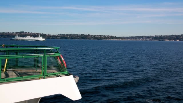 ferries on beautiful blue elliott bay - ferry deck stock videos & royalty-free footage