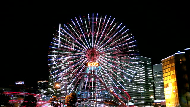 ferris wheel and coaster - yokohama stock videos and b-roll footage
