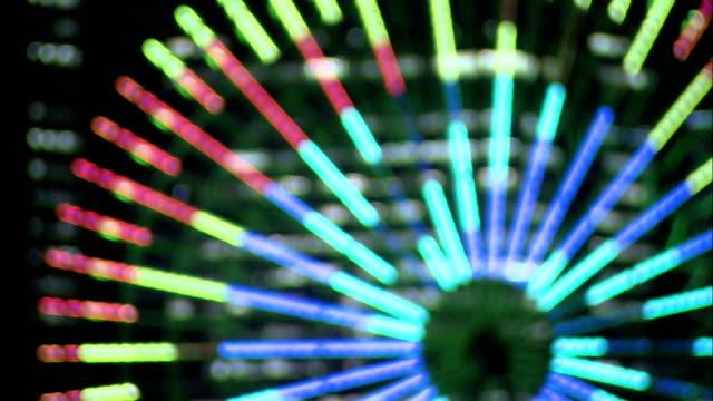 CU DEFOCUS Ferris wheel at Minato Mirai 21 illuminated at night, Yokohama, Japan