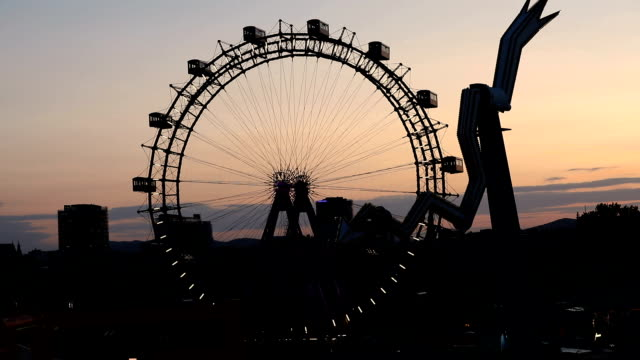 ferris wheel in prater park in vienna - prater park stock videos & royalty-free footage