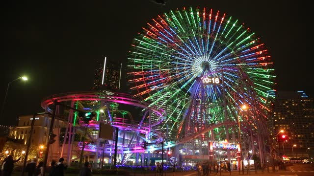 ferris wheel in yokohama - ferris wheel stock videos & royalty-free footage