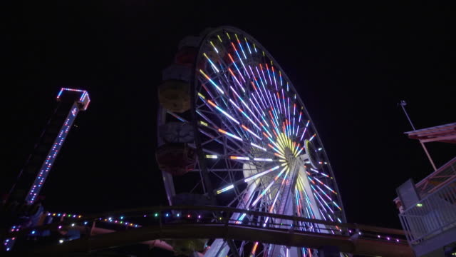 ferris wheel lights at night - ferris wheel stock videos & royalty-free footage
