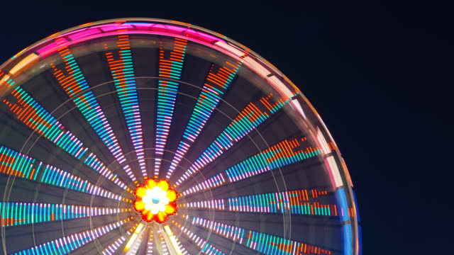 ferris wheel turning during the night - prater park stock videos & royalty-free footage