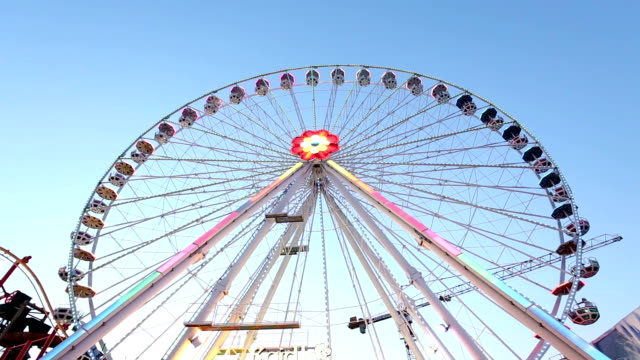ferris wheel wide shot at day - prater park stock videos & royalty-free footage