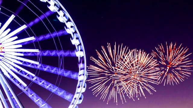 ferris wheel with fireworks - ferris wheel stock videos & royalty-free footage
