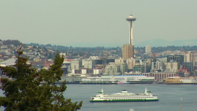 ferry and space needle - space needle stock videos & royalty-free footage