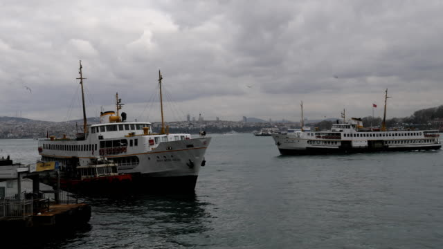 A ferry arrives at the Karikoy ferry terminal on February 16 2016 in Istanbul Turkey