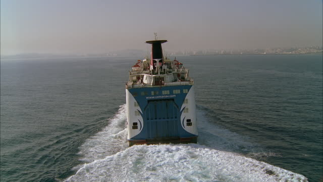 aerial ferry at sea, tangier, morocco - bootsperspektive stock-videos und b-roll-filmmaterial