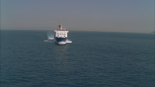 stockvideo's en b-roll-footage met aerial ferry at sea, tangier, morocco - ferry