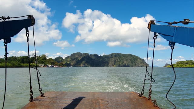 ferry boat across the sea to ko lanta - moored stock videos & royalty-free footage