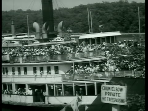 ferry boat arriving at private dock people using binoculars xws hyde park fdr home on hill father divine getting off boat people milling around... - elbow stock videos & royalty-free footage