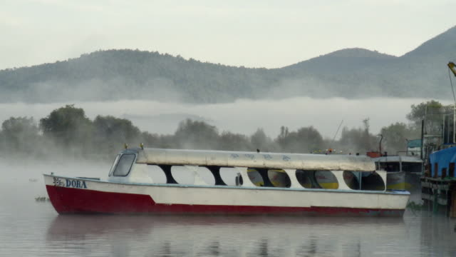 ms ferry boat in patzcuaro lake in morning fog / patzcuaro, michoacan, mexico - michoacán video stock e b–roll