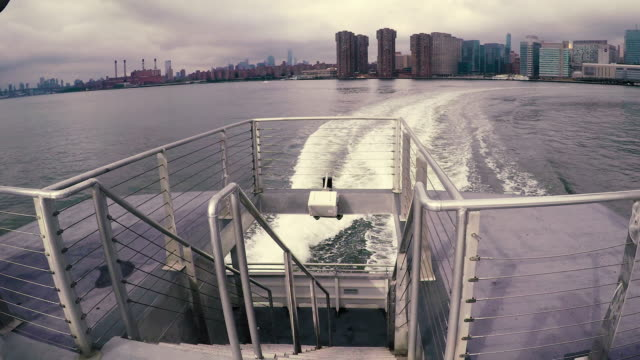 ferry boat ride - new york view - wide - ferry ride stock videos & royalty-free footage