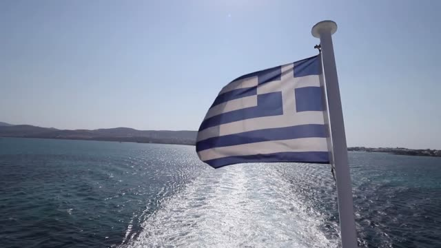 ferry boat ride with passengers, tourists and vehicles in the mediterranean sea during the summer day from paros island, cyclades, aegean sea, greece... - ferry ride stock videos & royalty-free footage