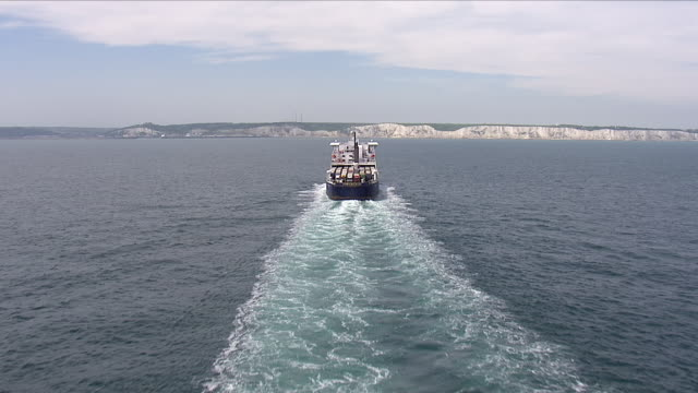 ferry carrying freight lorries over the english channel - english channel stock videos & royalty-free footage