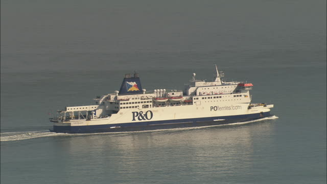 low aerial, p&o ferry crossing english channel near calais, pas de calais, france - ferry stock videos & royalty-free footage