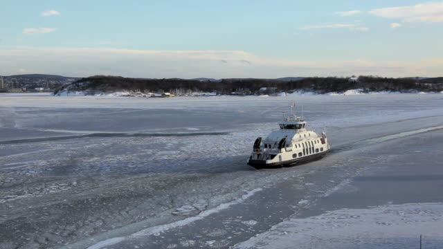 ferry entering frozen harbour - ferry stock videos & royalty-free footage