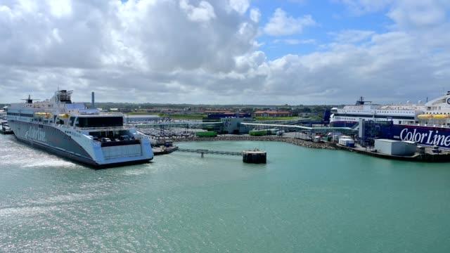 ferry in ferry port, hirtshals, jutland, denmark - ferry stock videos & royalty-free footage