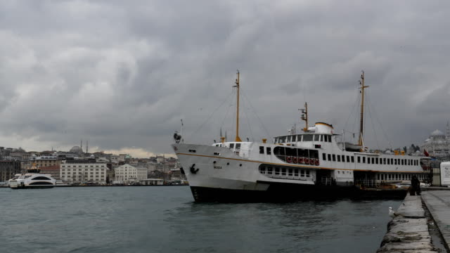 A ferry is seen departing the Karikoy ferry terminal on February 16 2016 in Istanbul Turkey