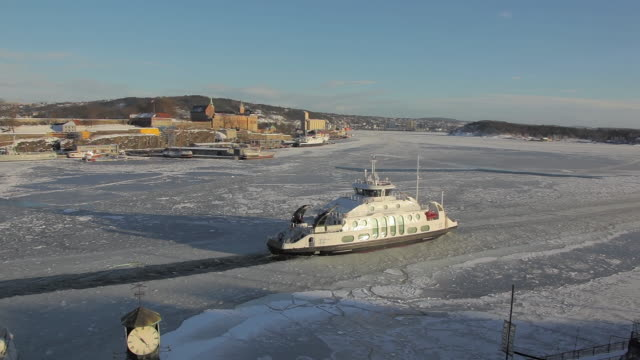 ferry leaving in frozen fjord - ferry stock videos & royalty-free footage