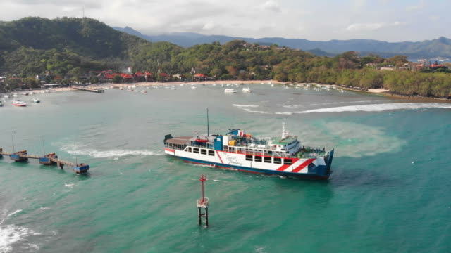 ferry leaving padang bai harbor in bali - north stock videos and b-roll footage