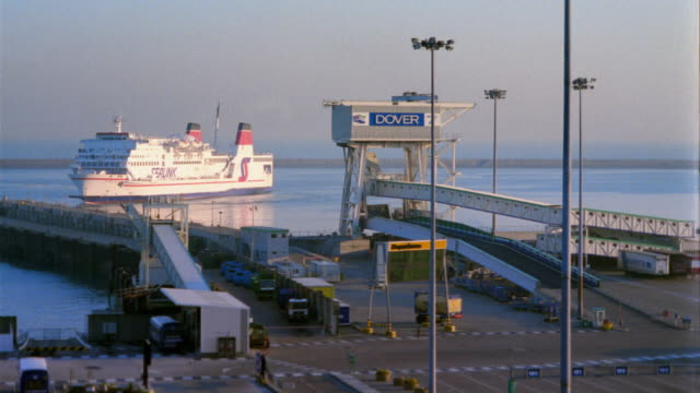 t/l, ms, ha, ferry leaving terminal, dover, england - ferry terminal stock videos & royalty-free footage