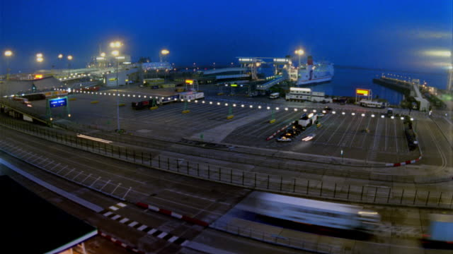 t/l, ws, ha, ferry leaving terminal, dusk to night, dover, england - ferry terminal stock videos & royalty-free footage